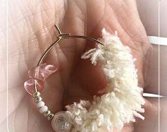 Boho hoop earrings round hoop fluffy earrings pearl gold rose quartz white gem stone pretty gift for her under 10 dollars hot sale