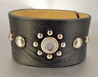 SALE!  Upcycled Leather Belt Bracelet, Black Leather Cuff, Boho Cuff, Biker Cuff, One of a Kind Cuff, Studded Cuff, Upcycled Leather Cuff