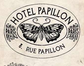 Water Decal Print transfer to furniture, wood or paper – Vintage French Advert: Hotel Papillon #007
