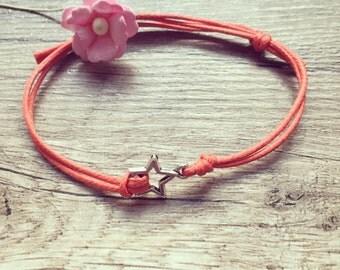 Star bracelet in salmon bracelet silver, stainless steel, star, blogger, vintage, statement,