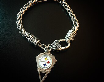 Steelers bracelet / Pittsburgh Steelers / Football / Silver Bracelet / Steelers Fan / Sports Jewelry /Steeler Nation /Steelers Nation/ Love