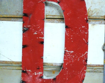 """Industrial Metal Letter D, 20"""" Recycled, Block Letter D Sign, 2-Tone Red & Teal, white sides"""