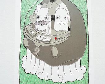 Illustration - Clouds - Print - Postcard - Machine - Cute - Drawn