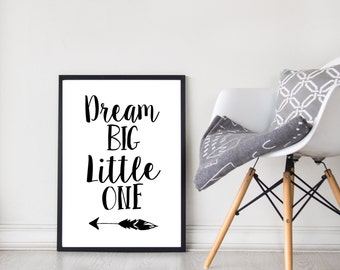 Dream Big Little One | Kids Decor | Nursery Decor | Wall Art | Prints