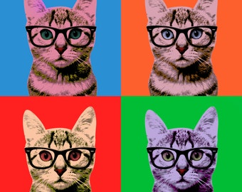 Warhol Cat in 4 Colors