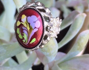 Hand Painted Ring Adjustable Antique