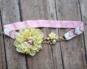 Spring vintage headband - vintage flower baby headband - spring yellow and pink headband - spring baby headband - baby girl shower gift