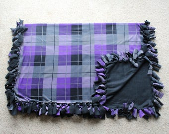 """Purple and Black Plaid Fleece Tied """"Cozy Cuddler"""" Blanket (approximately 60 inches X 46 inches)"""