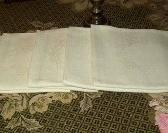 5 beautiful large towels old, damask. old linen