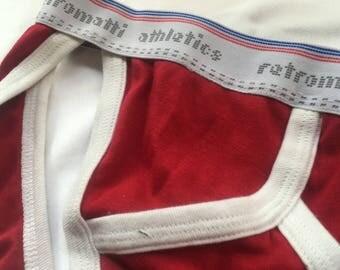 Retro string bikini jock briefs in red