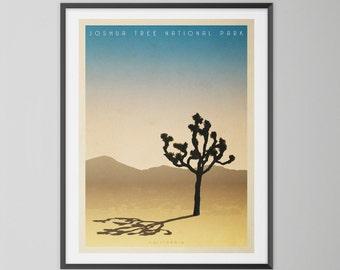 Joshua Tree, vintage style, giclee travel print. Mid century modern wall art