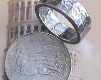 1961 Italy 500 Lira Coin Ring -- 83.5% Silver