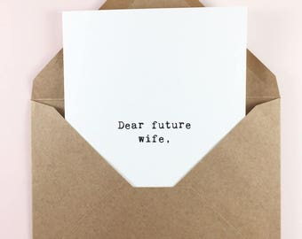 Wedding day card/Bride to groom card/Dear future wife love note