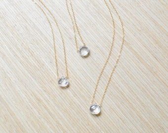crystal quartz teardrop on 14k gold fill chain necklace