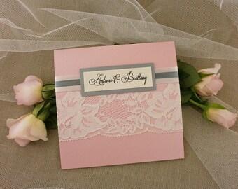 Blush Gray Wedding Invitation, Lace Wedding Invitation, Lace Invitation, Shimmer Wedding Invitation, Pink Wedding, Blush Gray Invitation