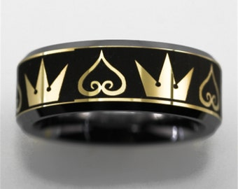 Free Engraving Top Quality Kingdom Hearts & Crowns Design Three Tone Colors Tungsten Ring Comfort Fit Design Men's Wedding Ring Promise Ring