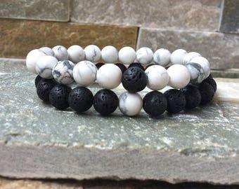 Partner bracelets bracelet set him and her turquoise lava beads 8 mm long distance relationship