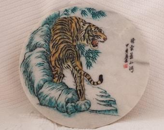 Vintage marble plaque (Tiger picture)