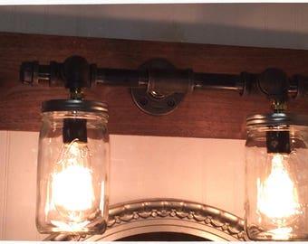 Mason Jar & Black Iron Pipe light fixture