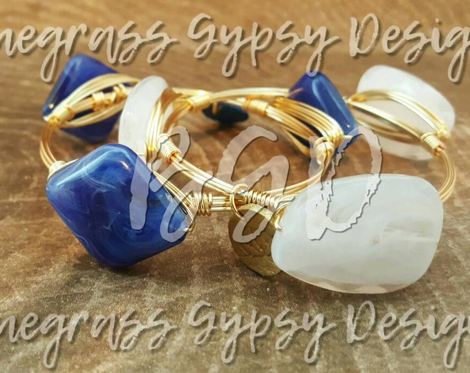 20% off Blue and White Wire Wrapped Bangle set, UK Bracelet, Silver or Gold wire, Bourbon and Boweties Inspired