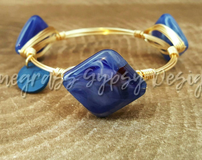 20% off Blue Wire Wrapped Bangle, UK Bracelet, Silver or Gold wire, Bourbon and Boweties Inspired