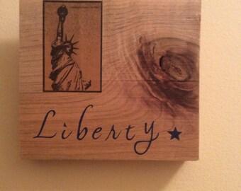 Lady Liberty Natural Wood Plaque