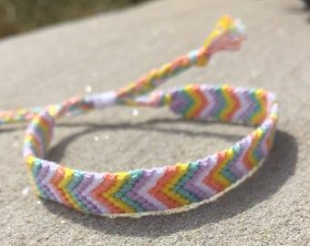 Springy Pastels Chevron Adjustable Friendship Bracelet