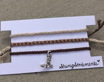Brown Cowgirl/Cowboy Boot Charm Friendship Bracelet Set