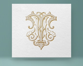 Vintage monogram TM - MT | Wedding Monogram