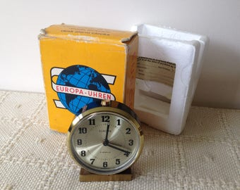 Retro Europa German made wind up alarm clock/Mid century clocks/Boxed/Advertising/