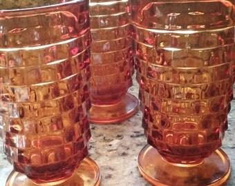 Beautiful Vintage Dark Amber Ice Tea Glassware