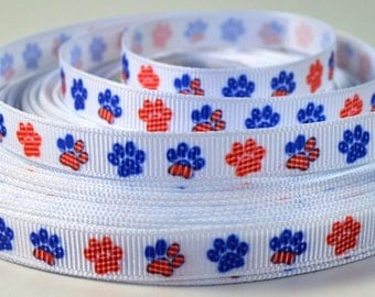 """3/8"""" Patriotic, Red, White and Blue Paw - Prints Grosgrain Ribbon"""