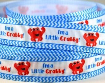 "7/8"" Crab - I'm a Little Crabby - Print Grosgrain Ribbon"