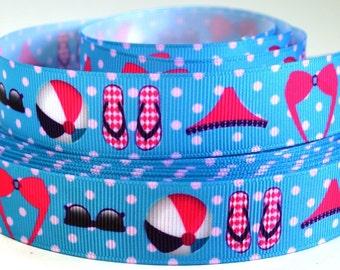 "7/8"" Beach Ball, Bikini, Flip Flops on Blue Polka Dot - Grosgrain Ribbon"