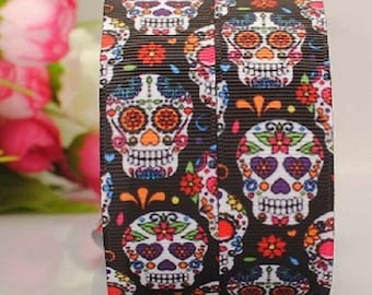 "7/8""  Day of the Dead Ribbon - Skull Ribbon - Printed Grosgrain Ribbon"