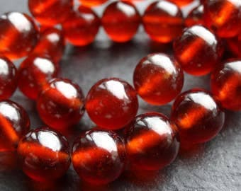 8mm Quality Hessonite Garnet rounds, 15cm string, 19 beads (3109)