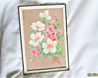 Sweet French Painting, floral paintings, dogwood flowers, oil on canvas, linen canvasses, 1950's paintings