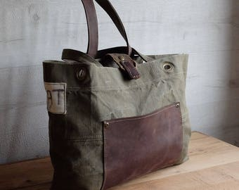 Recycled military canvas, leather tote bag, eco vintage fabrics