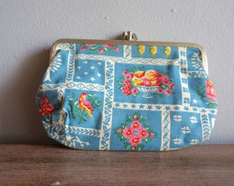 Vintage 60s Blue Floral Tablecloth Clasp Print Coin Purse Pouch