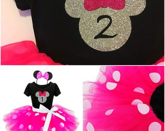 Pink Minnie Mouse Birthday Outfit / Pink Minnie Mouse Ears / Pink Minnie Mouse Dress / Minnie Mouse Tutu Set / 2nd Birthday Disney Shirt