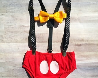 Mickey Mouse Suspender First Birthday Outfit Baby Boys / 1st Birthday Mickey Mouse Romper