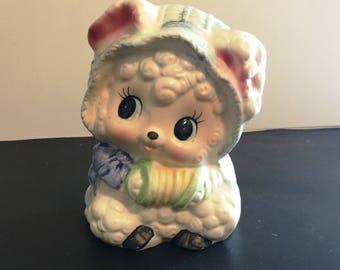 Vintage  Napco Napcoware Baby Lamb Accordion Nursery Planter Vase #140 Made in Japan  -  B2