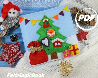 Christmas Tree   Pattern    PDF   Quiet Book   Felt Busy Book   Toddler book   Activity Book   Fabric quiet book