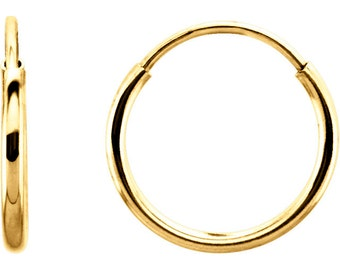 Genuine 14K Yellow Gold 10mm x 1mm  Endless Continuous Hoop Earrings Small