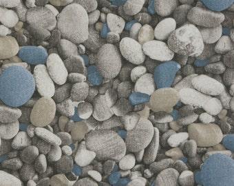 Decorative pebbles blaugrau - digital print cotton mix decorative fabric