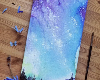 Into A Dream - Hand Painted Space Galaxy Original acrylic Painting on canvas 20x33 cm
