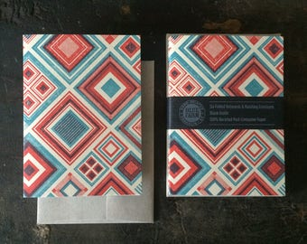 Six Diamonds Letterpress Notecards - Red & Blue