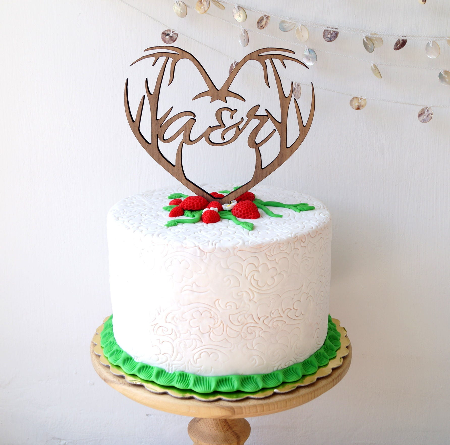 Antlers heart cake topper, wedding cake topper, personalized cake ...
