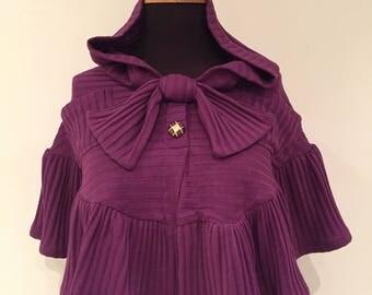 Violet Mini Hooded Poncho