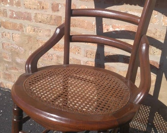 Antique Wood Chair with Cane Rattan Seat